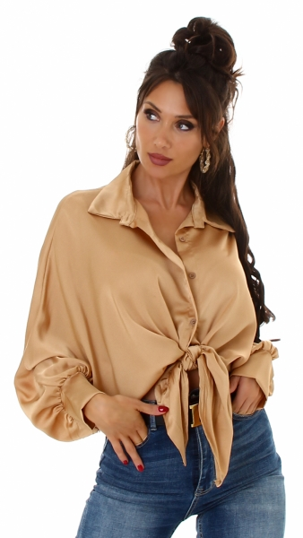 Sexy Hemd Bluse Satin Look zum binden