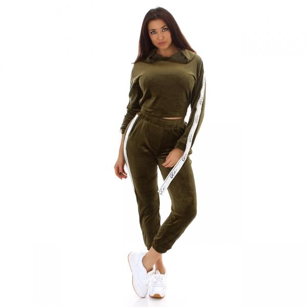 Sexy Velour Trainingsanzug mit Kapuze