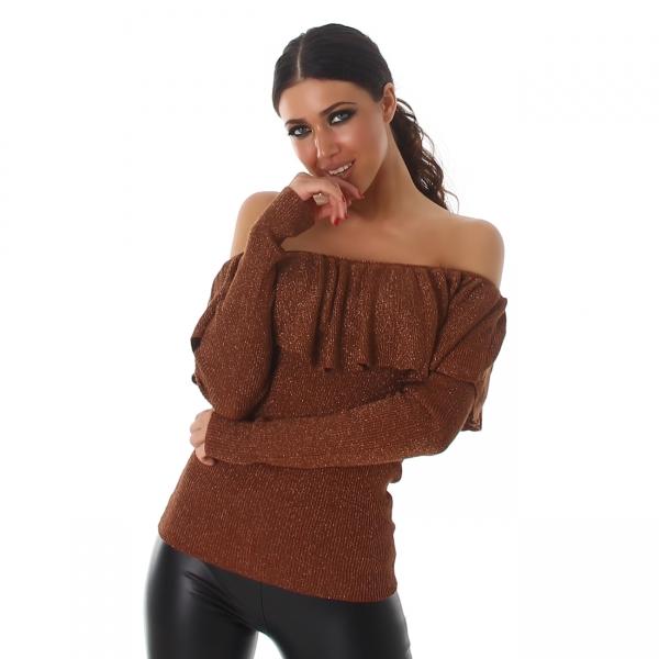 Sweater with carmen neckline C627