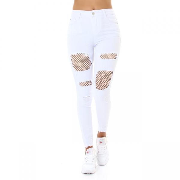 Sexy Skinny Hose Destroyed mit Netz