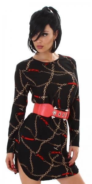 Sexy Kleid mit Kettendruck