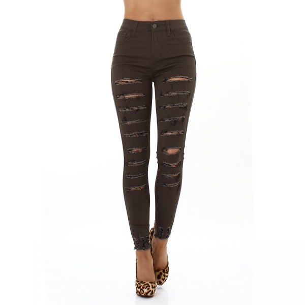 Sexy Skinny Highwaist Trousers with Cracks