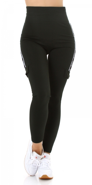 Sexy High Waist Thermal Leggings Sideways w. Pockets