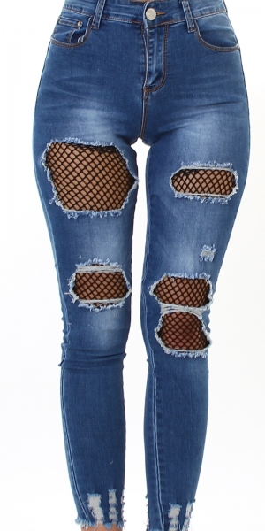Sexy Skinny Jeans Push-Up with Mesh