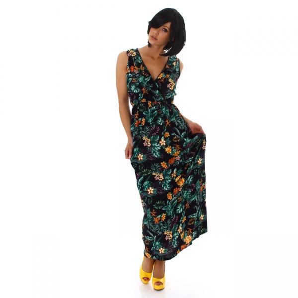 Sexy Maxi Dress V-Neck Flower Print