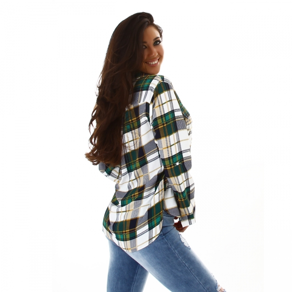 Sexy Blouse with Check Pattern