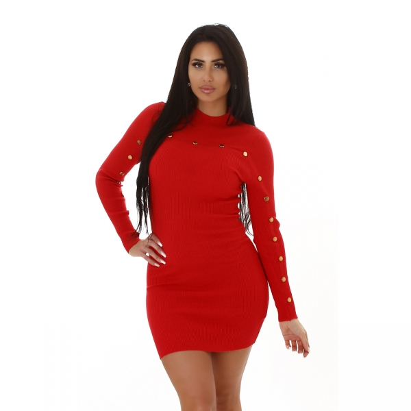 Sexy Knitted Dress with Buttons
