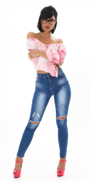 Sexy Skinny High Waist Jeans with Cut Out