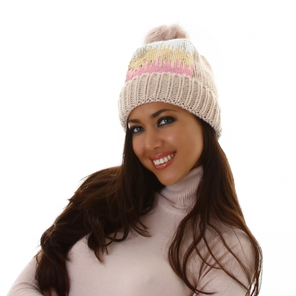 Sexy Knitted Pom-Pom Cap with Spangles DM22615