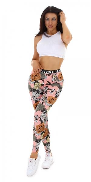 Sexy Love Leggings mit Blumen Print