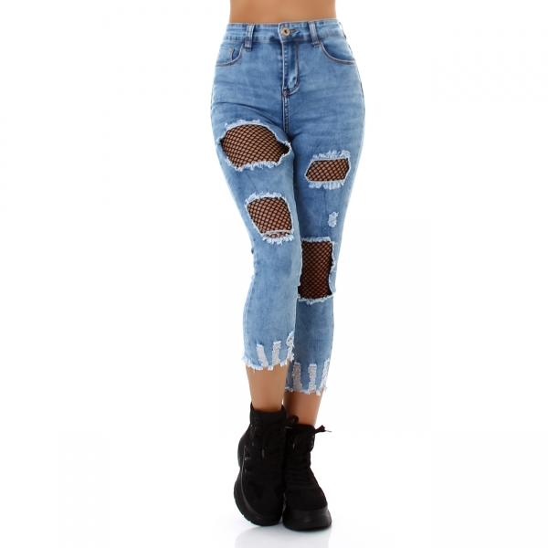 Sexy 7/8 Skinny Jeans Destroyed Look with Mesh Insert