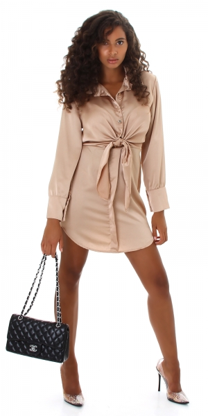 Sexy Blusenkleid zum Binden Satin Look