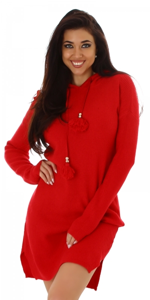 Sexy Fine Rib Knitted Dress with Hood
