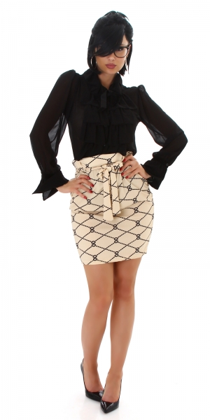 Sexy High Waist Pencil Skirt with Print and Belt