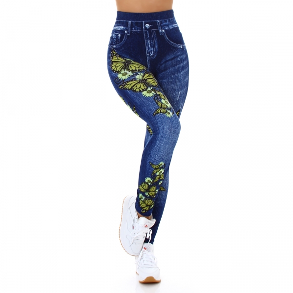 Sexy Leggings with Butterfly-Print and Rhinestones