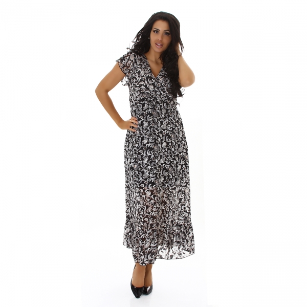 Sexy Maxi Dress with V-Neck and Print