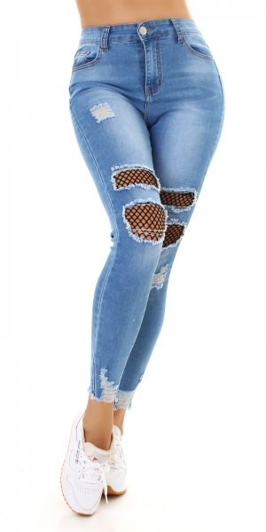 Sexy Skinny Jeans Destroyed with Mesh
