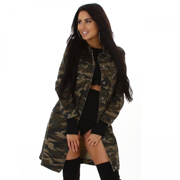 Sexy Oversize Jeansjacke Camouflage N001