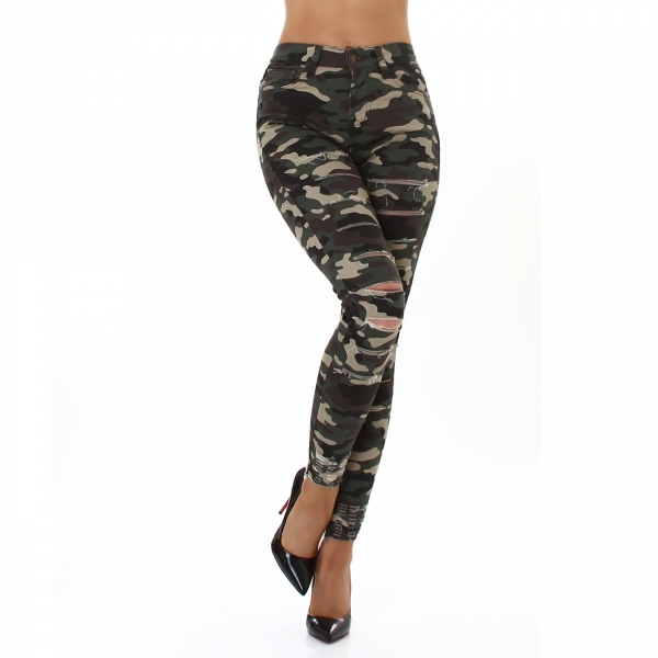 Sexy Skinny Trousers Camouflage with Cracks