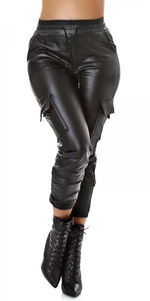 Sexy Leather Imitation Cargo Pants