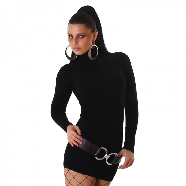 Sexy Knitted Dress with Turtleneck