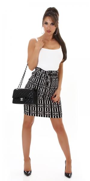Sexy High Waist Pencil Skirt with Print and Belt