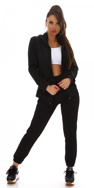 Sexy 2 Piece Set Quilted Hooded Jacket and Sweatpants