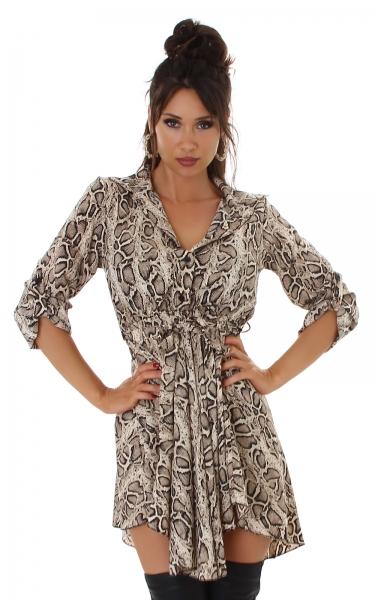 Sexy Blusenkleid V-Ausschnitt Langarm Tunika mit Gürtel
