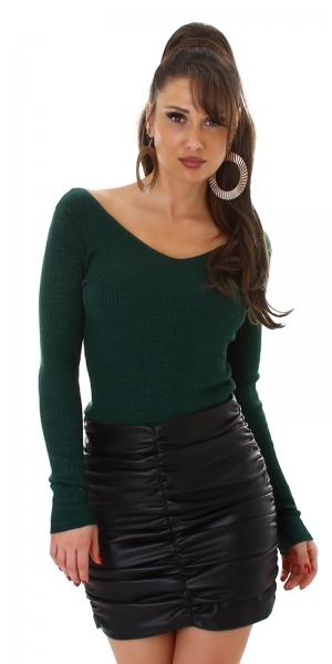 Sexy Fine Rib Sweater V-Neck