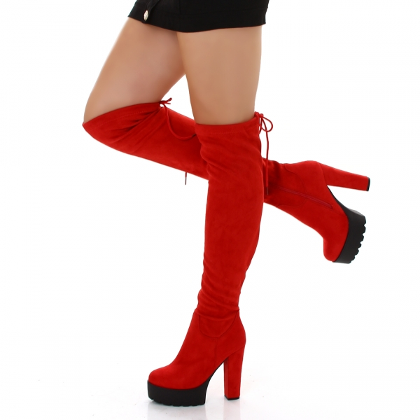 Sexy Overknee Stiefel mit Blockabsatz und Plattform