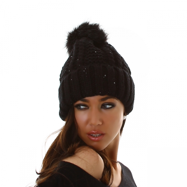 Sexy Knitted Pom-Pom Cap with Spangles DM22708