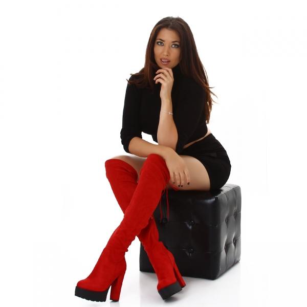 Sexy Overknee Boots with Block Heel and Platform