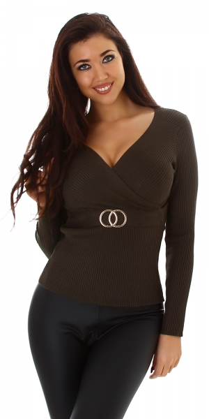 Sexy Sweater Wrap Look with Buckle