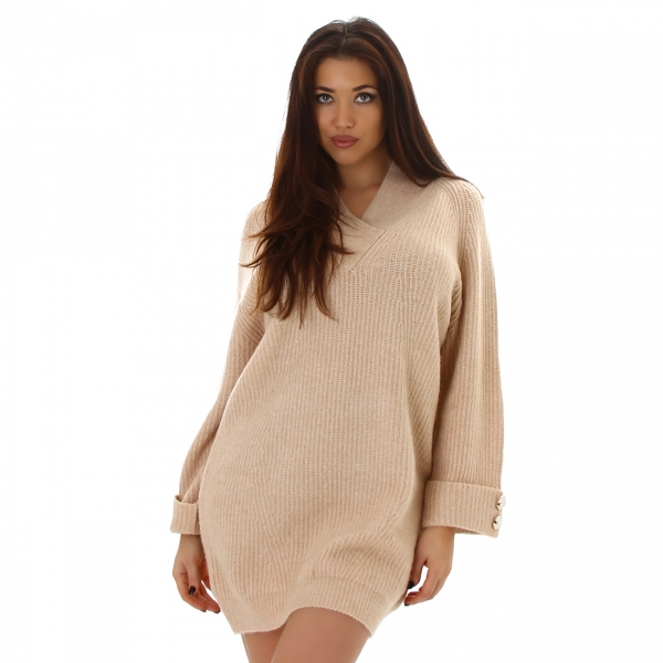 Sexy Oversize Knitted Dress with V-neck