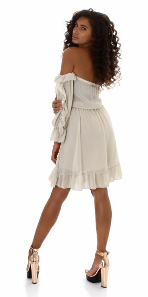 Sexy Kleid Carmen Ausschnitt mit Rüschen